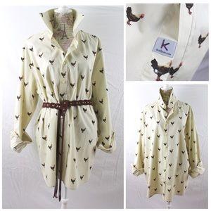 Chicken Print Oversize Dress Shirt by S. Kuhlman